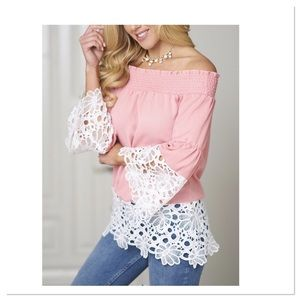 Pink Lace Trim Off Shoulder Top